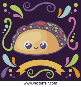 taco kawaii, typical Mexican food