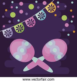 maracas with purple background and party garland