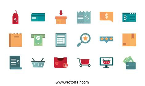 shopping business commerce trade online icon set