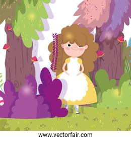 cute girl with dress and apron in the forest children character