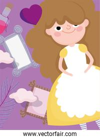 cute girl with fragrance heart mirror children character
