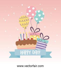 cute cake party gifts balloons decoration celebration happy day