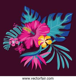 exotic flowers and leafs decoration