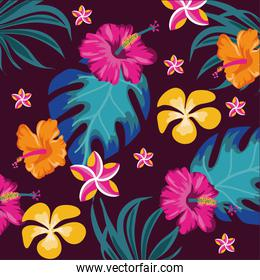 exotic flowers and leafs colors  decorative pattern