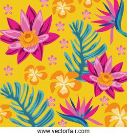 exotic flowers and leafs decorative pattern