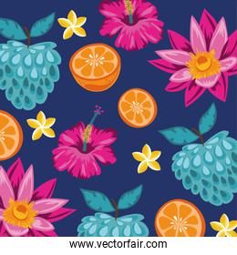 tropical fruits and flowers decorative pattern