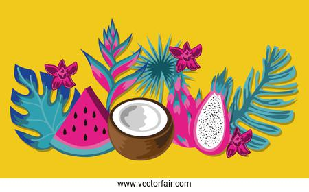 tropical fruits and leafs decoration