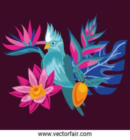exotic flowers and leafs with bird