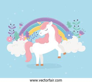 unicorn pink hair flowers rainbow fantasy magic dream cute cartoon
