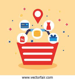 basket with shopping online technology