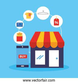 store building and smartphone with shopping online technology