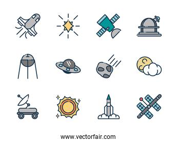 astronomy and space exploration observation science icons set