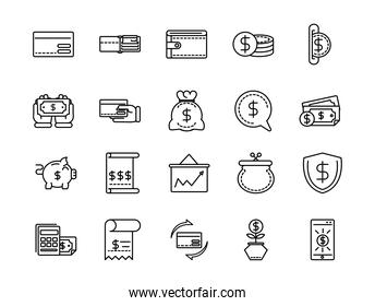 money business cash finance icon collection line design