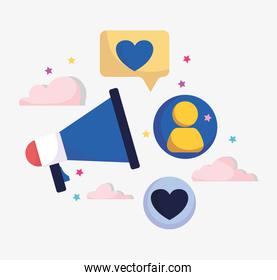 marketing advertising megaphone message people social media