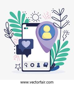 smartphone pin location avatar speech bubble social media