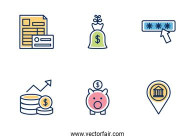 bundle of banking set icons