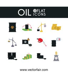 barrels and oil crash concept icon set, flat style