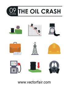 business portfolio and the oil crash concept of icon set, flat style