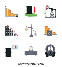 graphic charts and oil crash concept icon set, flat style
