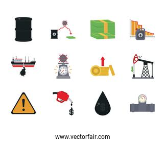 money and the oil crash concept of icon set, flat style