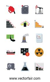 oil barrels and oil crash concept icon set, flat style