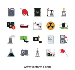 barrels and the oil crash concept of icon set, flat style