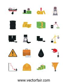 money and oil crash concept icon set, flat style