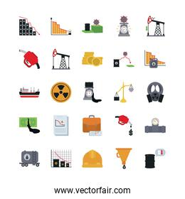 nuclear symbol and the oil crash concept of icon set, flat style