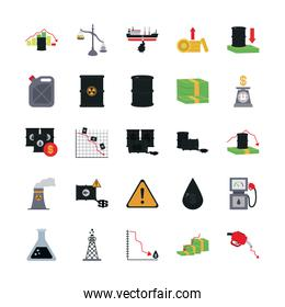 financial reports and oil crash concept icon, flat style