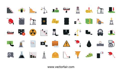 the oil crash concept of icon sett, flat design