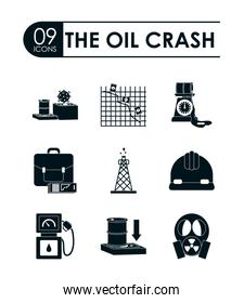 business portfolio and the oil crash concept of icon set, silhouette style