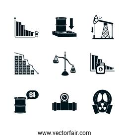 graphic charts and oil crash concept icon set, silhouette style