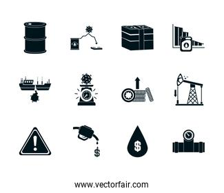 money and the oil crash concept of icon set, silhouette style