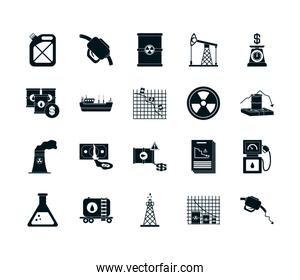 barrels and the oil crash concept of icon set, silhouette style