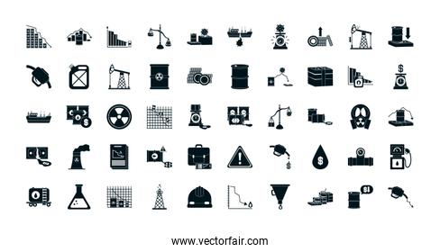 the oil crash concept of icon sett, silhouette design