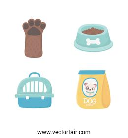 domestic case food package paw dog animals, pets