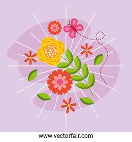 hello spring poster with flowers and butterfly