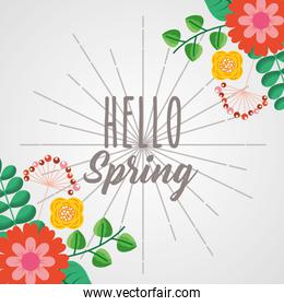 hello spring poster with floral frame