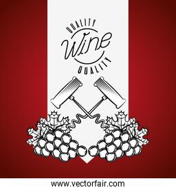 wine house poster with corkscrew and grapes