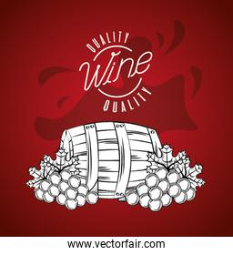 wine house poster with barrel and grapes