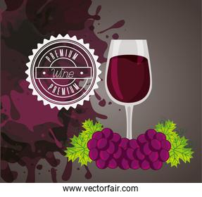wine house poster with cup and grapes