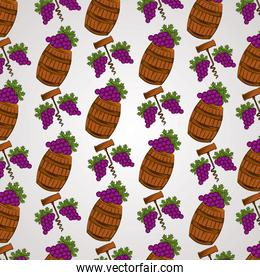 wine house poster with barrels and grapes pattern