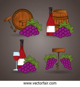 wine house poster with barrels and set icons