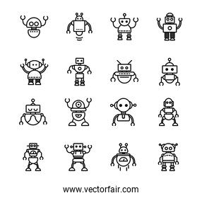 robot technology character artificial machine icons set linear