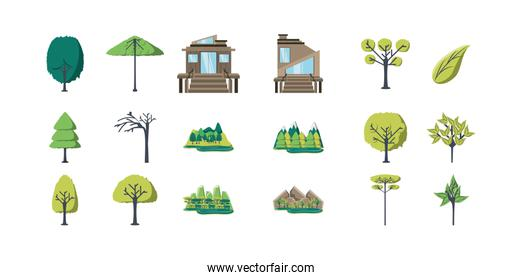 Variety trees and houses icon set pack vector design