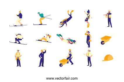 Variety sport and jobs icon set pack vector design