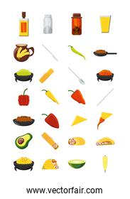 Variety mexican food icon set pack vector design