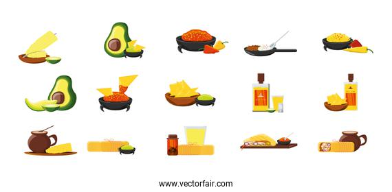 Variety mexican food items set pack vector design