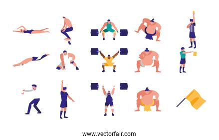 Variety sport icon set pack vector design