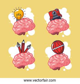 creative brains organs with set icons